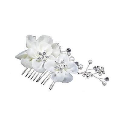 ROSENICE 花嫁 髪飾り 髪チャーム クリップ クリスタル/ラインス トーン真珠装飾