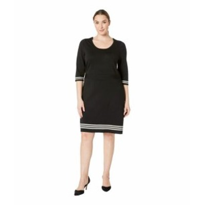 Anne Klein アンクライン ドレス 一般 Plus Size 3/4 Sleeve Scalloped Fit & Flare Sweater Dress
