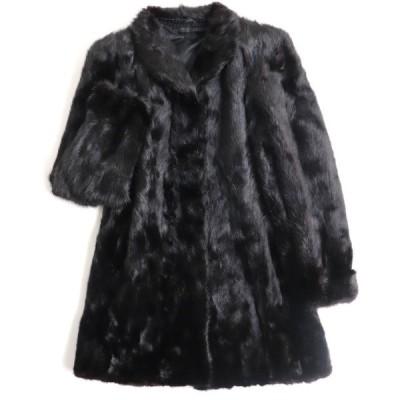 美品▼MINK ミンク 逆毛 本毛皮コート ダークブラウン(ブラックに近い) 毛質艶やか・柔らか◎