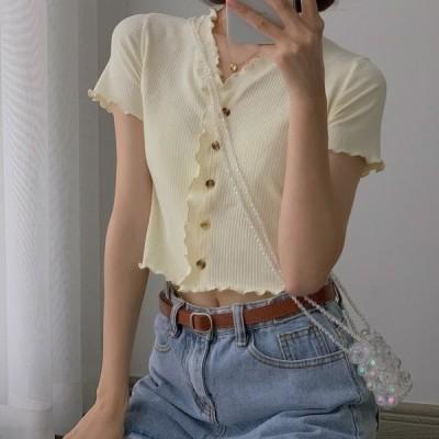 クロップド ニット 半袖 ボタン付き カーディガン 春 夏 秋 レディスファッション