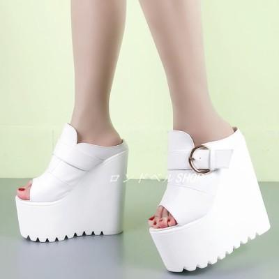 2色 ミュール 厚底 ウェッジソール サンダル  レディース ヒール16cm オープントゥサンダル フラット靴 スリッパ 履きやすい 疲れない 女性用 パーティー