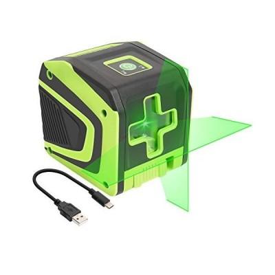 Huepar 2ライン グリーン レーザー墨出し器 クロスラインレーザー 緑色 レーザー 自動補正 傾斜モード 高輝度 ミニ型 操作簡単 T