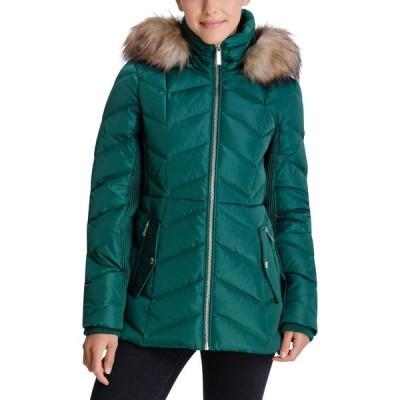 マイケル コース Michael Kors レディース ダウン・中綿ジャケット アウター Faux-Fur-Trim Hooded Down Puffer Coat Dark Emerald