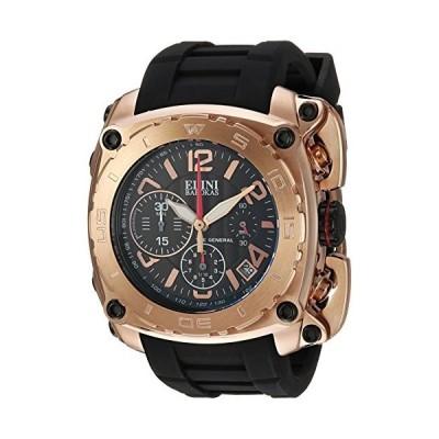 Elini Barokas Men 's ' The General ' Swiss Quartzステンレススチールand Silicone Casual Watch, Color : Black (Model : 20010-rg-01?)並行輸