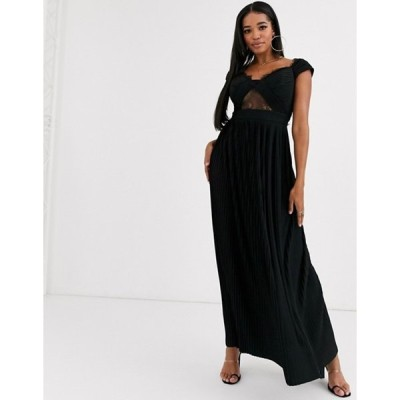エイソス レディース ワンピース トップス ASOS DESIGN Fuller Bust premium lace and pleat bardot maxi dress