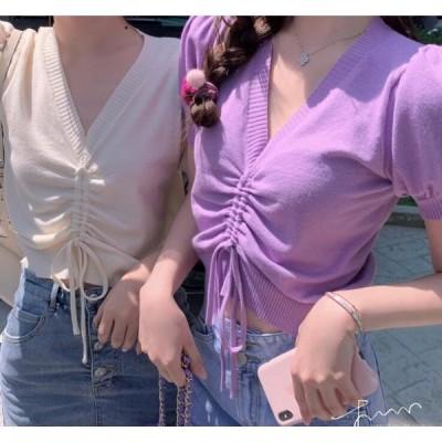 人気 レディースTシャツ 半袖Tシャツ ニット  Vネック ショート丈 可愛い おしゃれ カットソー半袖 フリーサイズ