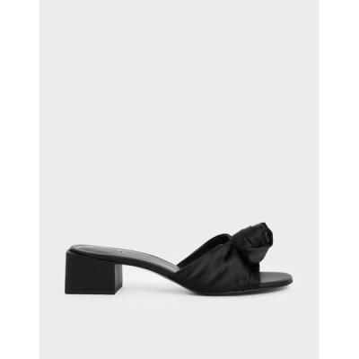 サンダル ジャカードフロントノット スライドサンダル / Jacquard Front Knot Slide Sandals