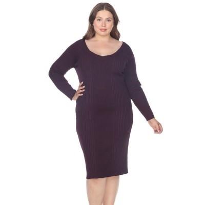 ホワイトマーク ワンピース トップス レディース Women's Plus Size Destiny Sweater Dress Purple