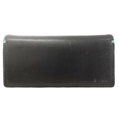 送料無料 ポールスミス PAUL SMITH 長財布 二つ折り レザー 本革 バイカラー 黒 ブラック系 青 ブルー系 レディース