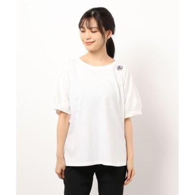 tシャツ Tシャツ ツリードット刺しゅうタックドルマンTシャツ