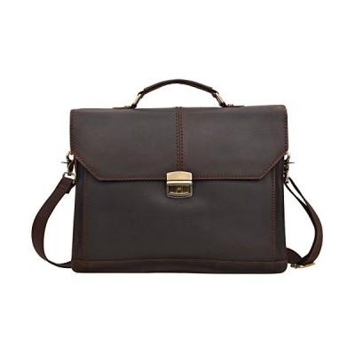 Altosy Vintage Leather Satchel Briefcase Laptop Tote Messenger Shoulder Bag 6133 (Dark Brown) 並行輸入品