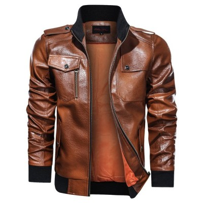 ミリタリージャケット レザージャケット メンズ 革ジャン 革ジャケット ブルゾン フライトジャケット ブルゾン アウター PU