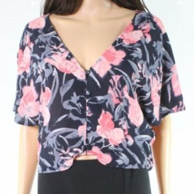 ファッション トップス Free Press Womens Pink Blue Floral Print Flutter Sleeve Large L Top