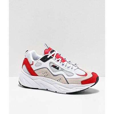 フィラ FILA レディース スニーカー シューズ・靴 trigate red, white & cream suede shoes Red