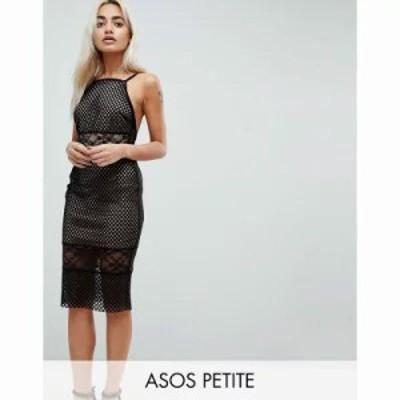 エイソス ワンピース ASOS PETITE Lace & Mesh Mix Midi Pencil Dress Black/nude