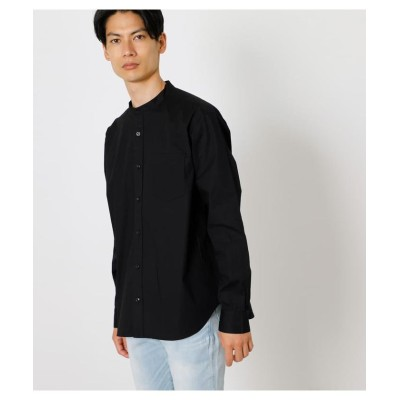 (AZUL by moussy/アズールバイマウジー)NO COLLAR RELAX SHIRT/メンズ BLK