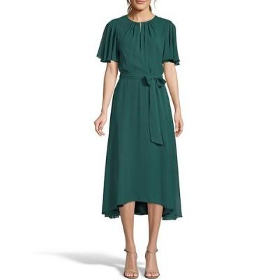 タハリエーエスエル  レディース ワンピース トップス Keyhole Short Flutter Sleeve Tie Waist Midi Chiffon Hi-Low Dress