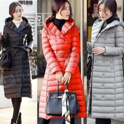 レディースダウンコート レディースコート アウター 軽量 防風 防寒 大きいサイズ ロングコート フード付き ダウンコート 長袖コート ロングダウンコート