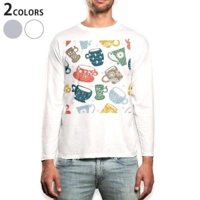 ロングTシャツ メンズ 長袖 ホワイト グレー XS S M L XL 2XL Tシャツ ティーシャツ T shirt long sleeve  イラスト カラフル カップ コップ 008828