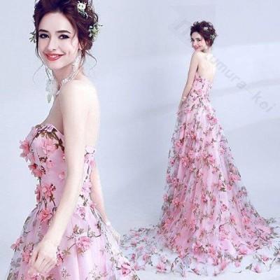 ドレス 二次会 結婚式 女性 刺繍 ピンク ビスチェタイプ 透け感 袖なしエンパイアライン ロングドレス 演奏会 パーティードレス