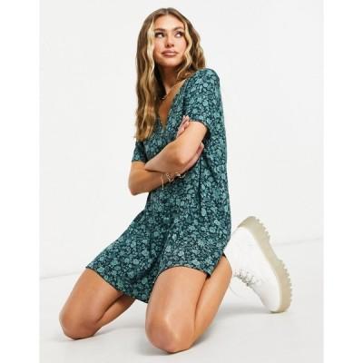 モーテル ミディドレス レディース Motel button front mini tea dress in green floral エイソス ASOS
