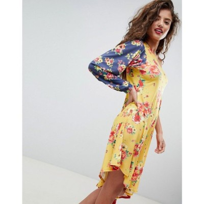 エイソス ASOS DESIGN レディース ワンピース ワンピース・ドレス one shoulder midi dress in colourblock floral print Floral print