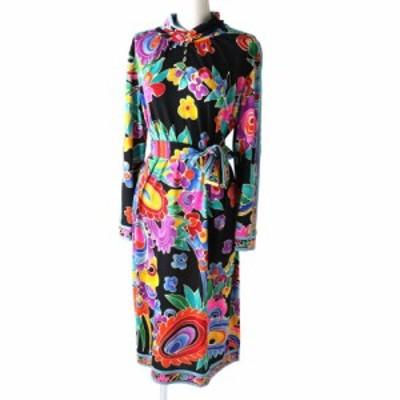 8 美品◎レオナール ファッション レディース ベルト付き シルク混 長袖 超ロングワンピース ブラック×マルチ 花柄/フラワープリント M