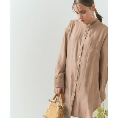 【ティティベイト】 サテンバンドカラーシャツ レディース ライト ブラウン F titivate