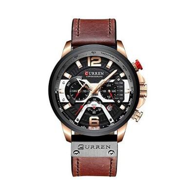CURREN ミリタリー クロノグラフ ファッショントレンド 多機能 防水 クォーツ 腕時計 レザーストラップ Rose gold black