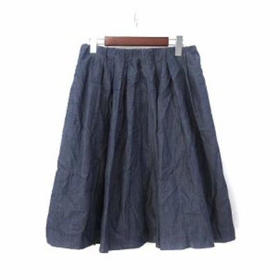 【中古】ナチュラルビューティーベーシック NATURAL BEAUTY BASIC スカート L 紺 ネイビー フレア ひざ丈 無地 シンプル レディース