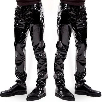 エナメル メンズ PU革パンツ レザーパンツ  バイクパンツ ロングパンツ スリムパンツ スキニーパンツ 無地 カジュアル 通勤 通学 大きいサイズ かっこいい