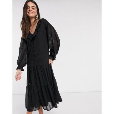 エイソス レディース ワンピース トップス ASOS DESIGN button through ruffle front tiered maxi dress in black Black