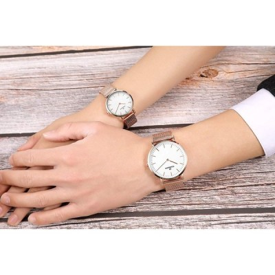 Tonnier Stainless Steel Slim Couple Watches His and Hers Watches for L