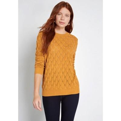モドクロス ModCloth レディース ニット・セーター トップス looking lively textured sweater mustard
