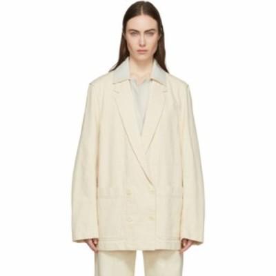 ルメール Lemaire レディース ジャケット Gジャン ダブルブレストジャケット アウター Off-White Denim Double-Breasted Jacket Cream