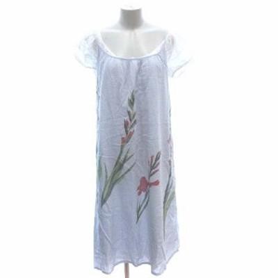 【中古】アニエスベー ワンピース 2点セット ミモレ ロング キャミ 花柄 フレンチスリーブ コットンボイル 38 紫 白