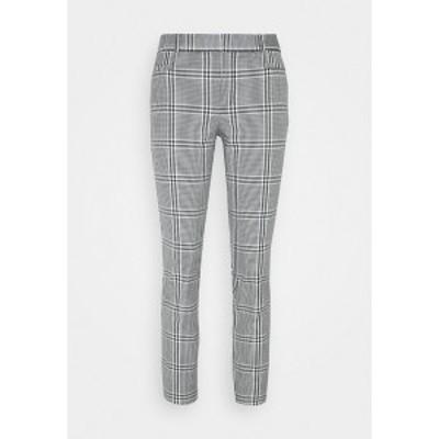 バナナ リバブリック レディース カジュアルパンツ ボトムス CURVY SLOANKIKIPLAID - Trousers - black/blanco black/blanco