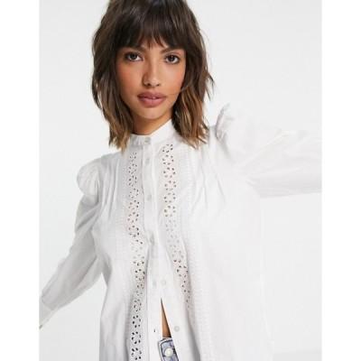 アンドアザーストーリーズ レディース シャツ トップス & Other Stories organic cotton broderie blouse in off-white