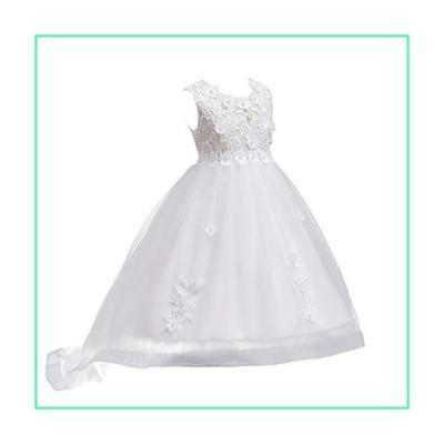 IBTOM CASTLE Flower Girls' Applique Hi-Lo Formal Communion Pageant Lace Tulle Dresses for Wedding White Princess 7-16 Dance Evening Gowns White 4 Year