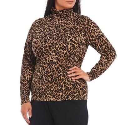 インベストメンツ レディース Tシャツ トップス Plus size Essentials Long Sleeve Leopard Print Turtleneck Top