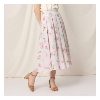 【クチュール ブローチ/Couture brooch】 【WEB限定サイズ(LL)あり/洗える】ローズプリントフレアスカート