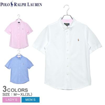 ポロ ラルフローレン 半袖シャツ メンズ レディース ニット コットン オックスフォード シャツ POLO RALPH LAUREN 白 ホワイト