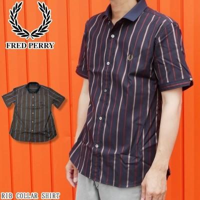 フレッドペリー FRED PERRY アパレル メンズ F4526 リブカラーシャツ 襟付き ウェア 半袖 服 ストライプ トップス シンプル 月桂樹 ネイビー 紺