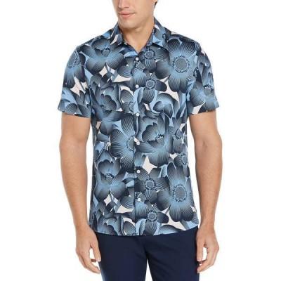 ペリーエリス シャツ トップス メンズ Men's Tropical Floral Print Short Sleeve Button - Down Shirt Pink