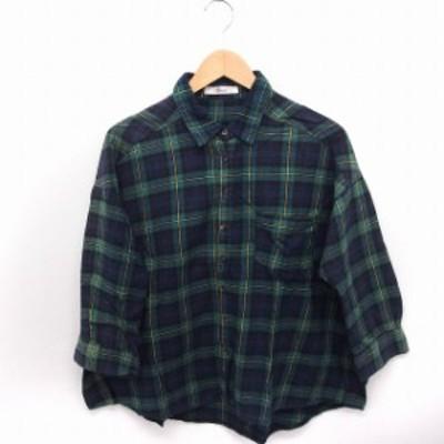 【中古】Musee シャツ ブラウス チェック 七分袖 ワイド コットン 綿 F グリーン 緑 /FT23 レディース