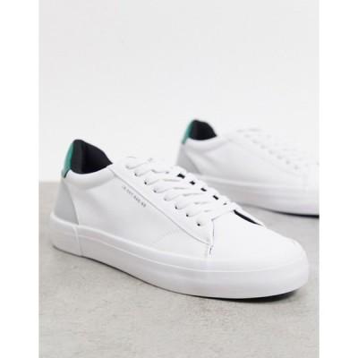 ベルシュカ メンズ スニーカー シューズ Bershka white sneakers with contrast green panel