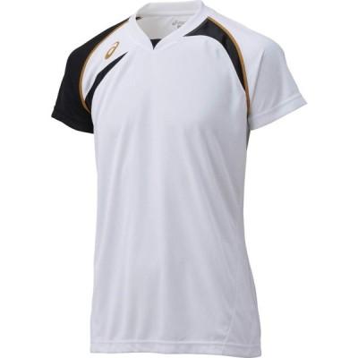 バレー ゲームシャツ 半袖 ホワイト×ブラック アシックス XW1318-0190  取寄