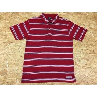 nev ネブ Mサイズ メンズ ポロシャツ 半袖 マルチボーダー ワンポイントロゴ刺繍 裾にロゴワッペン カットソー レッド系 赤系