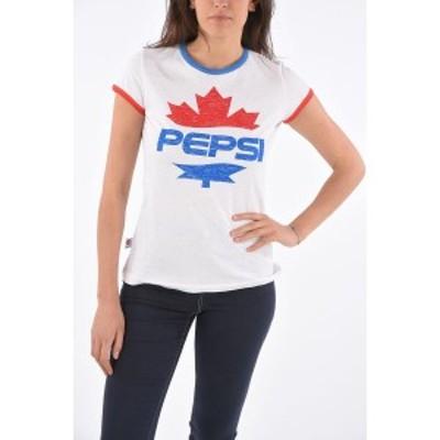 DSQUARED2/ディースクエアード Bianco, Blu レディース Printed BELLA FIT T-shirt dk