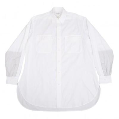 ヨウジヤマモト プールオムYohji Yamamoto POUR HOMME 袖ストライプ切替フラップポケットシャツ 白3 【メンズ】